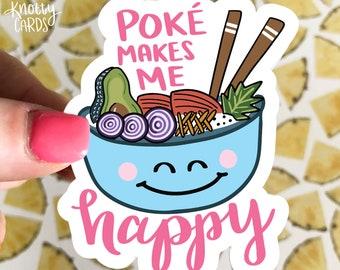 Poke Bowl Vinyl Sticker, Cute Vinyl Sticker, Sticker Water Bottle, Sticker for Laptop, Stickers, Knotty Cards, Poke Sticker, Food Sticker