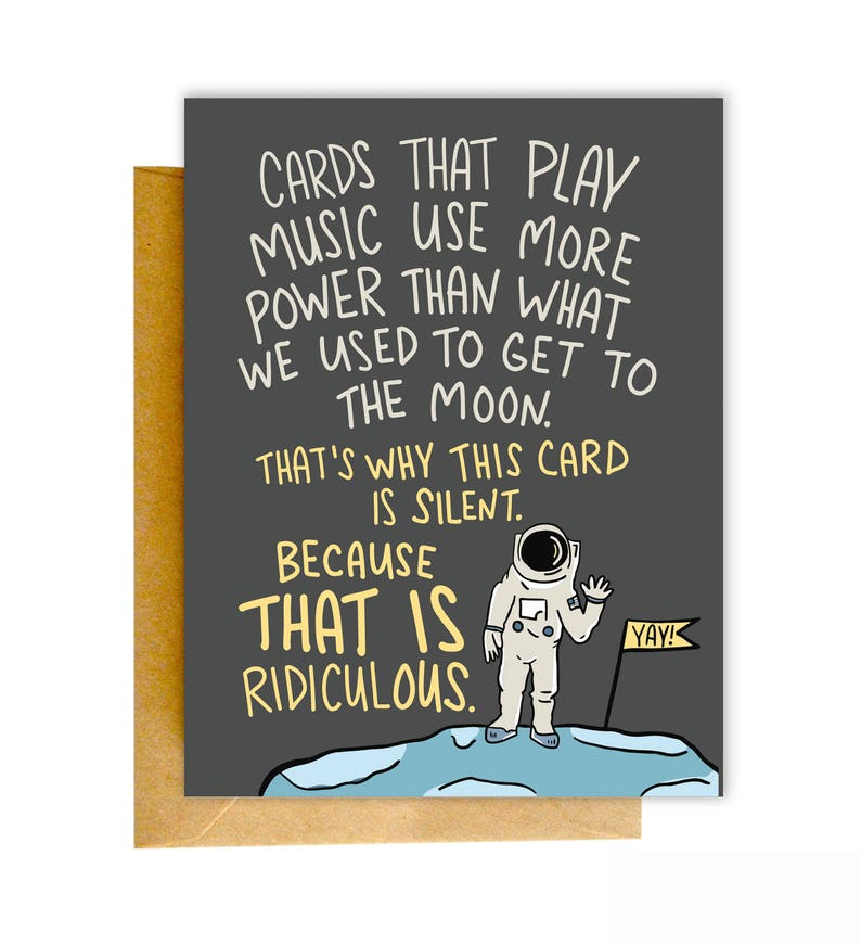Funny Birthday Card Greeting Moon Sarcastic Outer Space