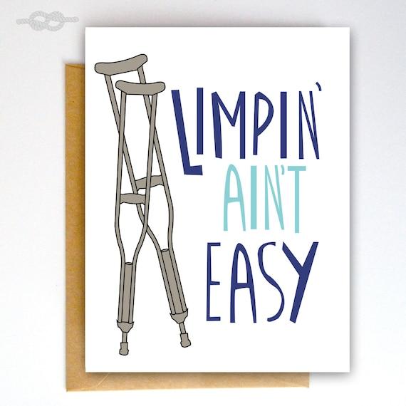 Get Well Soon Card Broken Bone Card Broken Leg Card Get Etsy