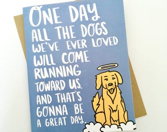 SALE Dog Loss Card, Pet Loss Card, Dog Death Card, Lost Dog Card, Dog Heaven Card, Card for grief, Card for Friend, Pet Sympathy Card