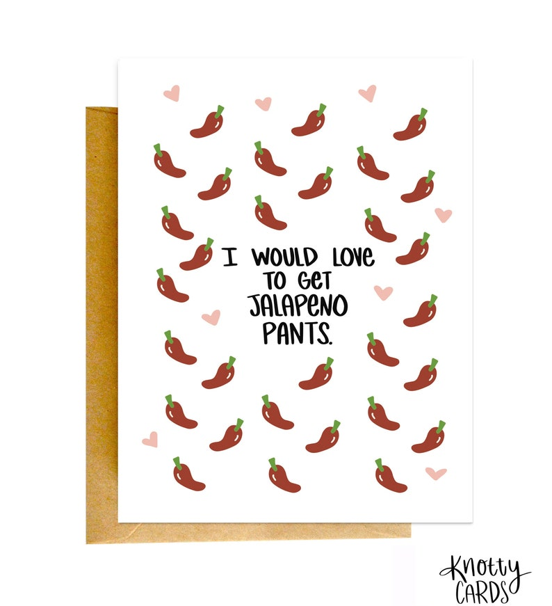 Jalapeno Pants Funny Valentines Card Card for Husband Funny image 0