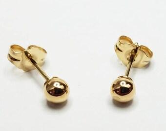 Genuine 14kt Yellow Gold Stud Earrings