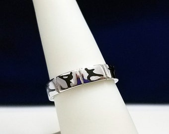 Martial Arts Silver Band Ring - R49