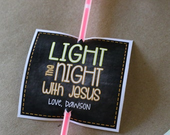 Fall Printable - LIGHT the NIGHT with Jesus - Glowstick tag