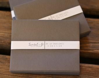 """SMOKE A2  Envelopes  (charcoal) ~ Invitation Envelope ~ A2 = 4 3/8"""" x 5 3/4"""" ~ qty 25"""