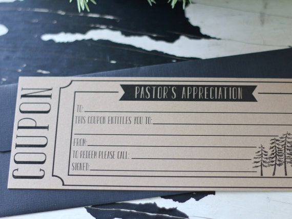 Pastor Appreciation Coupon Thank You Cards Set Of Three Etsy