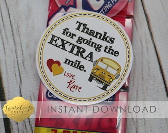 Valentine Printable - Bus Driver Valentine/Thank You -  THANKS for going the EXTRA MILE! -  Extra Gum - Instant Download