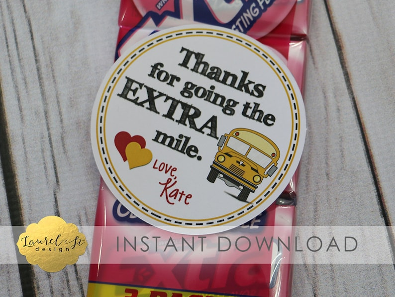 photograph regarding Extra Gum Valentine Printable identified as Valentine Printable - Bus Driver Valentine/Thank By yourself - Because of for likely the Much more MILE! - Further Gum - Instantaneous Obtain