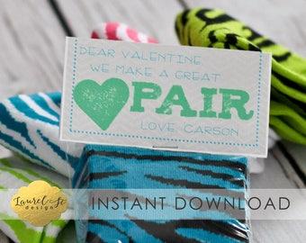Valentine Printable - We Make A Great Pair - INSTANT DOWNLOAD -  Socks Valentines