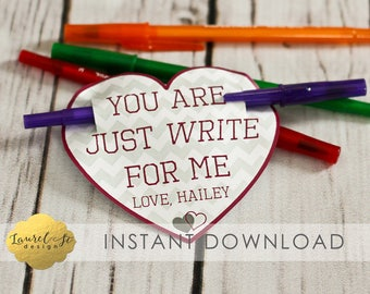 Valentine Printable - You Are Just WRITE for me - Instant Download - Pencil Valentine - Pen Valentine
