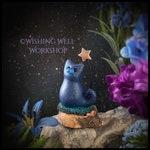 Starlight Cat, Night Sky Kitty, Miniature Cat, Polymer Clay Cat, Cute Kitty, Kitty, Cat Sculpture, Cat Figurine, Night Sky, Cat