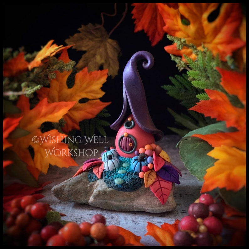 Polymer Clay Autumn Leaf Cottage Fairy House Halloween image 0