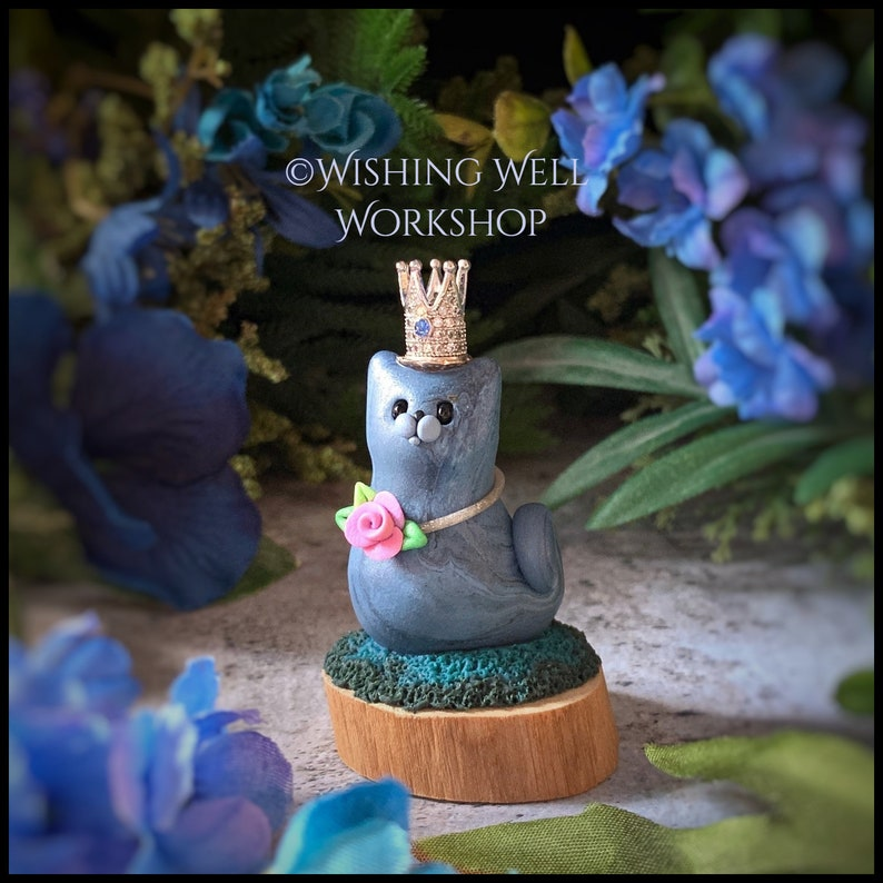 Polymer Clay Royal Cat Miniature Cat Polymer Clay Cat Cute image 0