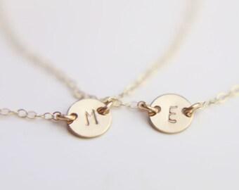 SS GF // Small initial Disc Bracelet / Initial Monogram Bracelets / Personalized Custom Jewelry
