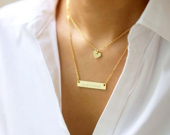 Personalized Name Plate Bar / Customized Name Plate Bar / Bar Necklace