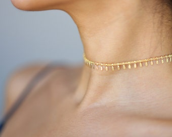 Gold Dangle Choker // Shaker Choker Necklace // Trendy Chain choker necklaces // short necklace // bohemian style simple choker Gift for her
