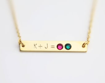 Personalized Birthstone Family Necklace // Birthstone bar necklace // Personalized Bar Necklace