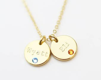 Birthstone necklace etsy mothers birthstone disc necklace gift for mom crystal birthstone necklaces mom birthday gift valentines day gift for her aloadofball Image collections