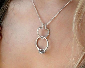 Heart Ring Holder Necklace, Open Heart Ring Saver Necklace, Sterling Silver Ring Holding Necklace