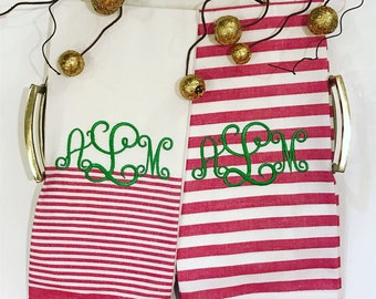 de5a1763c4c6 Monogrammed Pom Pom and Striped Cotton Dish Towel-Set of 2  Towels-Holiday-Christmas-Personalized Gift-Monogram Gift