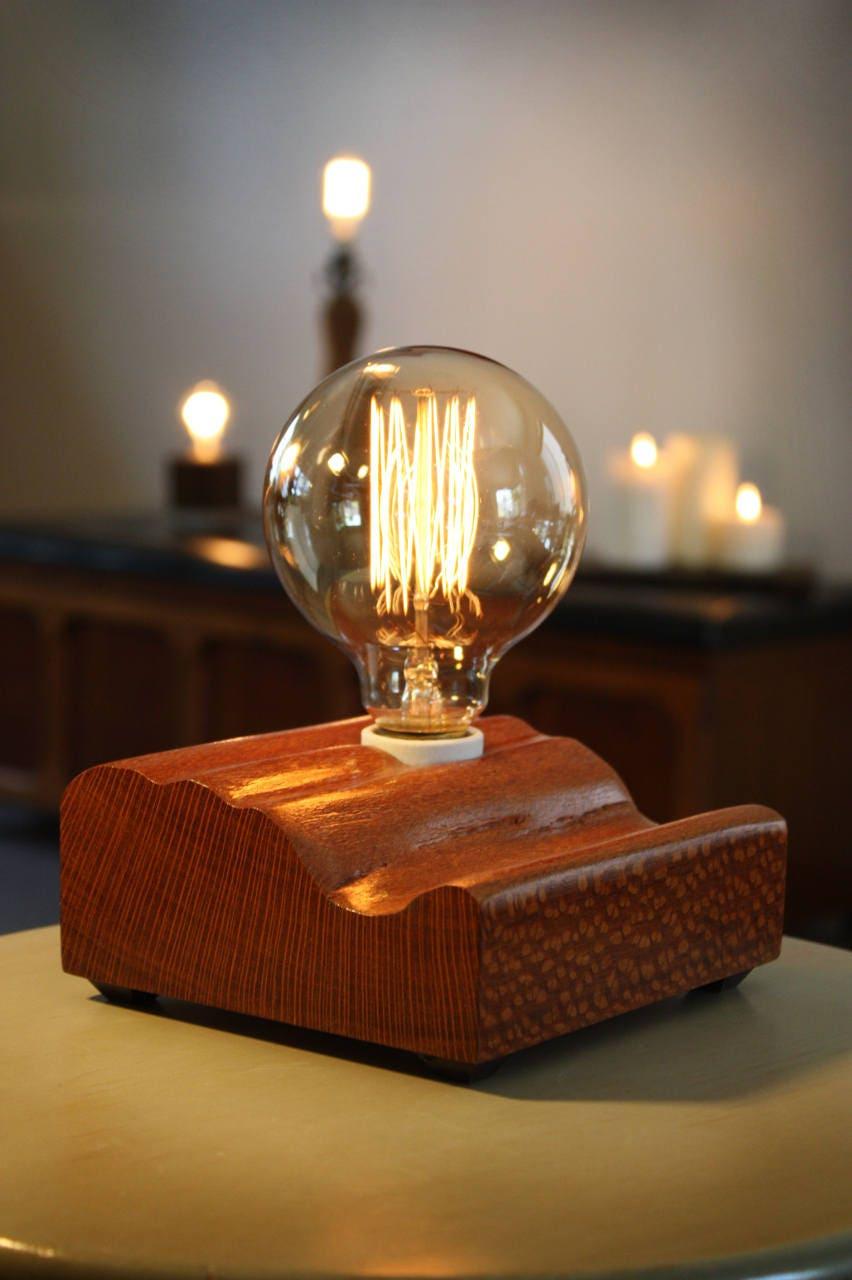 holz block lampe mit jahrgang leuchtmittel leopardwood etsy. Black Bedroom Furniture Sets. Home Design Ideas