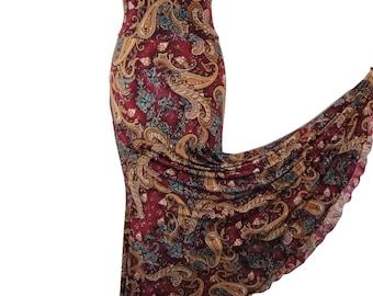 Flamenco Practice Skirt Dance Elegant Burgundy Paisley Light Weight Stretchy Mermaid Maxi Skirt Boho Gypsy Beautiful