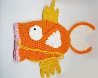 Crochet Magikarp Drawstring Bag, Dice Bag, Pouch