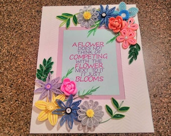 Quilled blooming Garden framed wall art with inspirational message