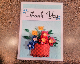 Quilled basket of flowers thank you note card