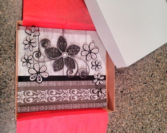 Black and white Quilled happy birthday card