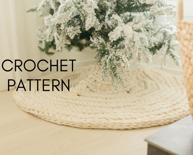 CROCHET PATTERN  Nordic Christmas Tree Skirt DIY Crochet image 0