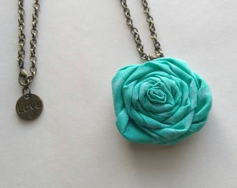 Fabric Rolled Rosette Necklace Turquoise