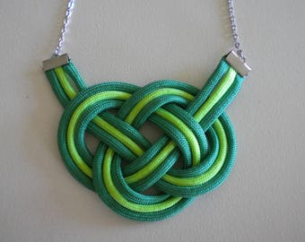 Rope Knot Statement Necklace Green