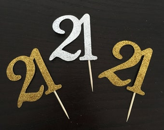 21 cutout cupcake topper ... 21st birthday party .. cupcake toppers