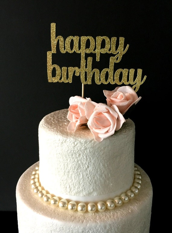 Happy Birthday Cake Topper Black Glitter