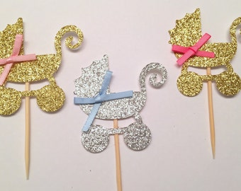 baby stroller cupcake topper .. gold and silver .. baby stroller .. baby shower