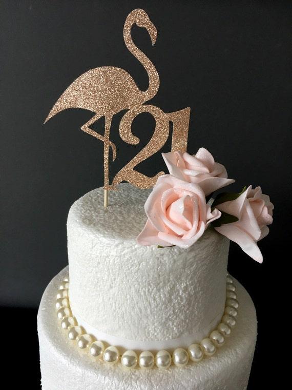 Twenty One Cake Topper Flamingo 21st