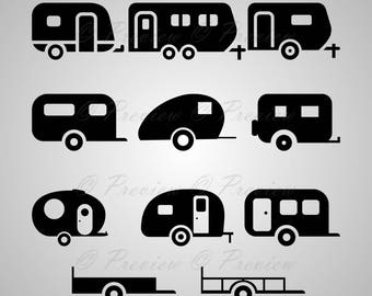 Digital Clipart Camper Silhouettes Summer Travel Trailer Caravan Vinyl Decal Black Images Png Eps Svg Dxf Pdf Studio Files
