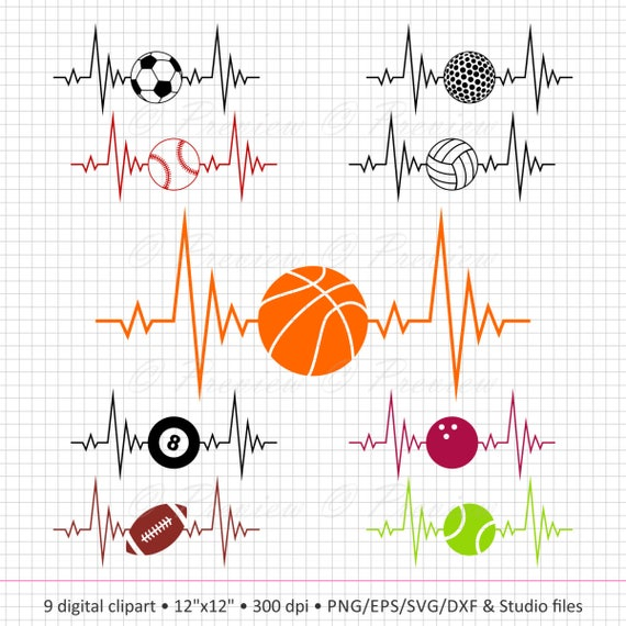 Buy 2 Get 1 Free Digital Clipart Sport Heartbeat Monogram Etsy