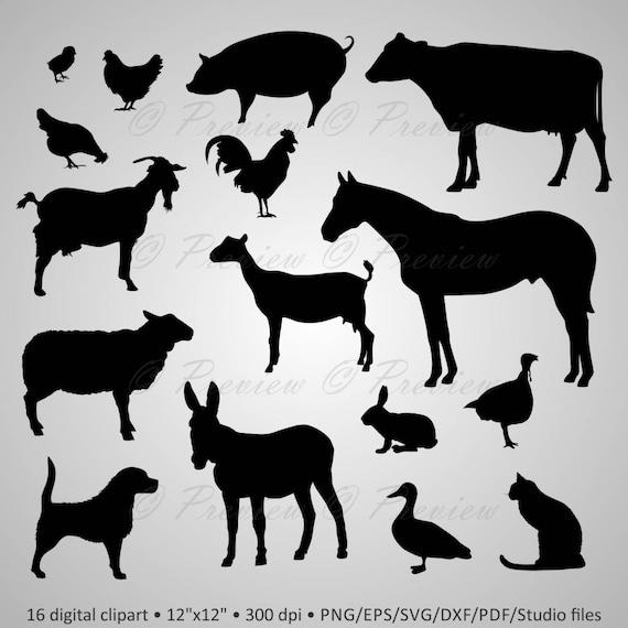 Buy 2 Get 1 Free Digital Clipart Farm Animals Silhouettes Dog Etsy
