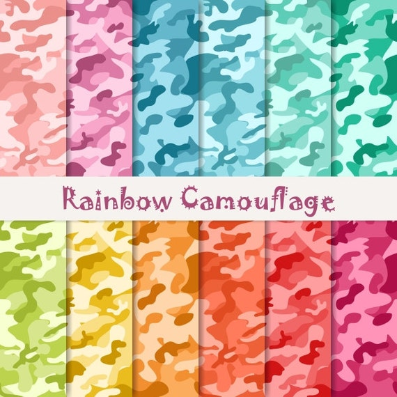 Buy 2 Get 1 Free! Digital Rainbow Camouflage Patterns, Green, Purple,  Orange, Blue, Red, Mint, military print for Label tag invite, seamless
