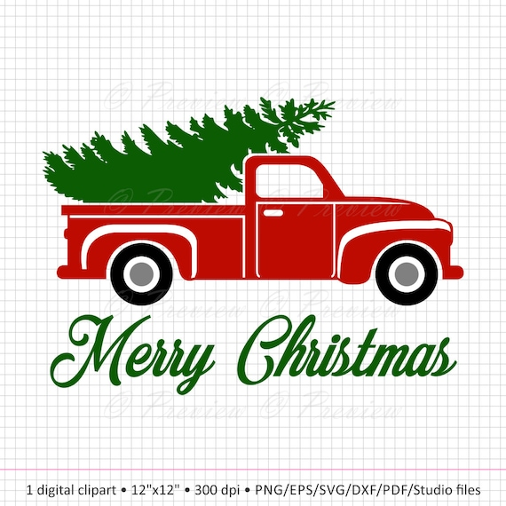 Christmas Tree Truck Svg Free.Buy 2 Get 1 Free Digital Clipart Christmas Tree Truck Monogram Red Old Classic Car Vintage Images Png Eps Svg Dxf Pdf Studio Cut Files