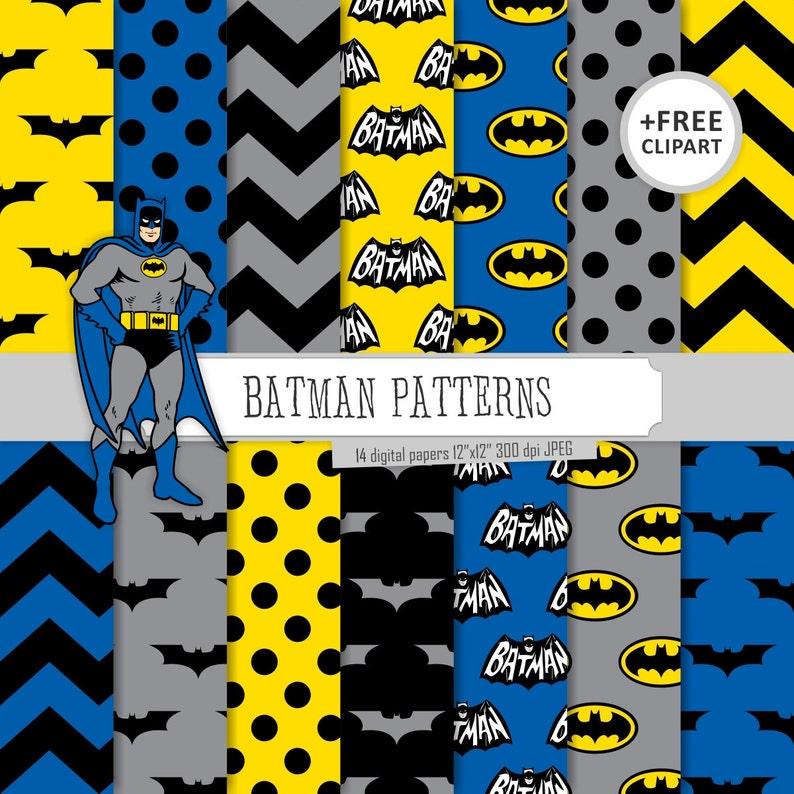 Kaufen Sie 2 Bekommen 1 Frei Digitale Papier Batman Muster Blau Schwarz Grau Und Gelb Chevron Tupfen Fledermaus Label Nahtlose Clipart