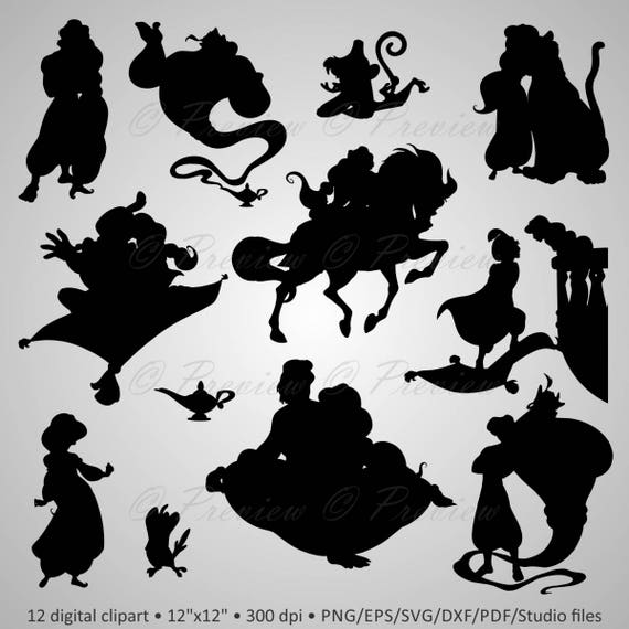 Buy 2 Get 1 Free Digital Clipart Aladdin Silhouettes Cartoon Characters Gin Lamp Disney Party Black Images Png Eps Svg Dxf Pdf Studio Files