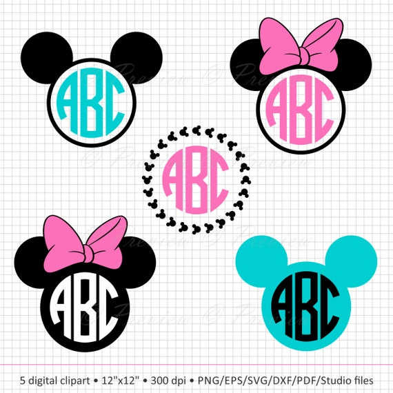 Buy 2 Get 1 Free Digital Clipart Mickey Mouse Frames Circle Etsy