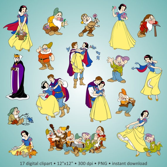 buy 2 get 1 free digital clipart snow white and the seven etsy