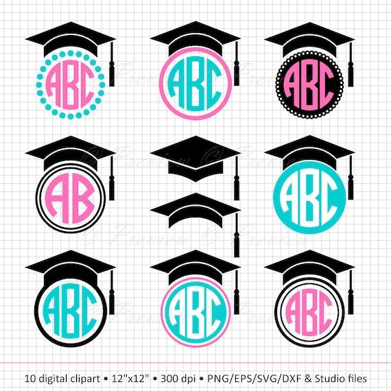 Buy 2 Get 1 Free Digital Clipart Graduation Cap Monogram Etsy