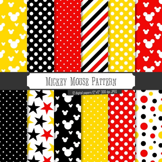 Buy 40 Get 40 Free Digital Paper Mickey Mouse Pattern Black Etsy Magnificent Mickey Mouse Pattern