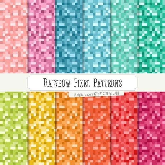 Buy 40 Get 40 Free Digital Paper Rainbow Pixel Patterns Green Etsy Cool Pixel Patterns