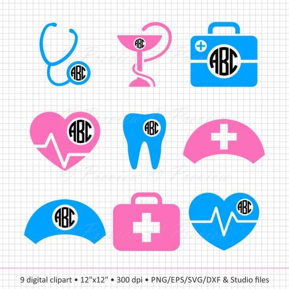 Buy 2 Get 1 Free Digital Clipart Nurse Monogram Frames Etsy